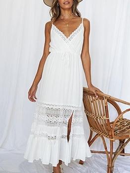 Sexy Lace v Neck Slip Maxi Dresses
