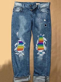 Rainbow Patchwork Holes Denim Ladies Jeans