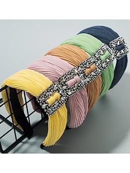 Draped Polyester Wide Edge Rhinestone Ladies Hair Band
