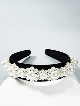 Multiple Faux Pearls Black Velvet Female Headband