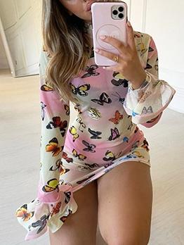 Butterflies Pattern Mini Long Sleeve Dress