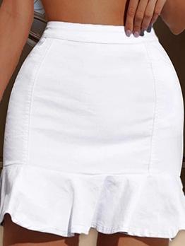 Easy Matching Ruffled Hem White Denim Skirt