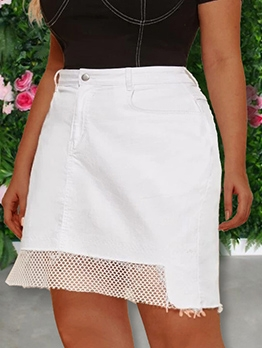 Chic Mesh Patchwork White Denim Skirt