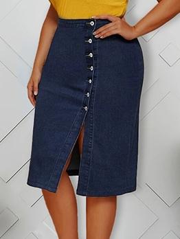 Button Up Split Plus Size Denim Skirt