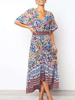 Bohemian High-Low Printed Maxi Dresses