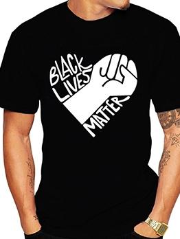 Casual Shirt Sleeve Printed Black T Shirt