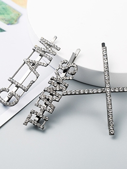 Silvery Letter Rhinestone Cute Ladies Hairpin