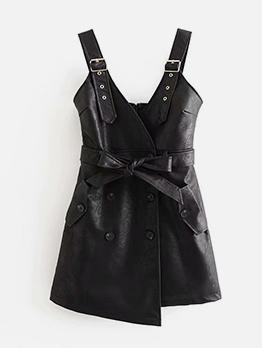 Fashion Double Breasted Black Pu Sleeveless Dress