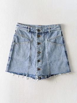 Buttons Up High Waist A-Line Short Pants Fashion