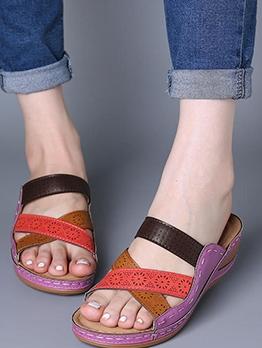 Roman Style Holes Female Cross Slippers