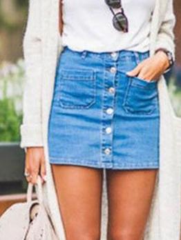 Fashion Button Fly Straight Denim Skirt