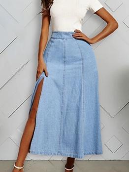 High Split Solid Color Denim Long Skirt