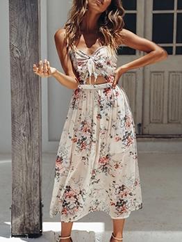 Knotted Design Sleeveless Boho Maxi Dress For Vacation