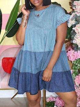 Color Block Loose Short Sleeve Dress