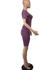Solid Short Sleeve High Waist Shorts Set For Women
