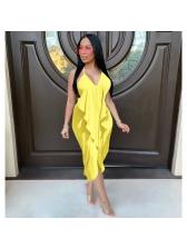 Ruffled Solid Color Backless Chiffon Midi Dress