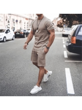 Solid Color Short Sleeve Mens Activewear