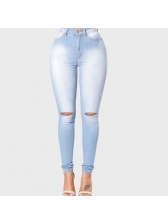 Mid Waist Holes Solid Skinny Stretch Jeans