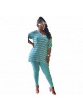 Striped Short Sleeve Loose Two Piece Pants Set
