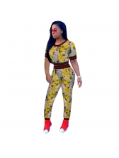 Euro Flower Printed Cute Two Piece Outfits