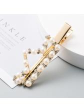 Crown Heart Drop Shaped Faux-Pearl Hairpin