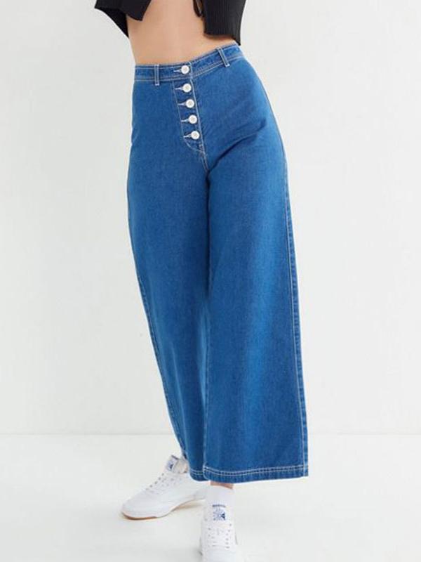 Deep Blue Loose Wide-Legged Casual Denim Pants