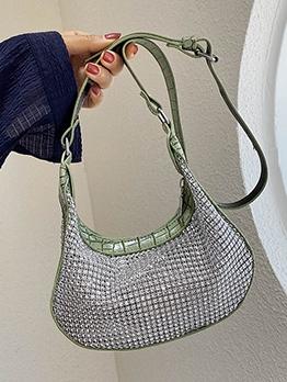 Rhinestone Patchwork Crocodile Print Pu Shoulder Bags