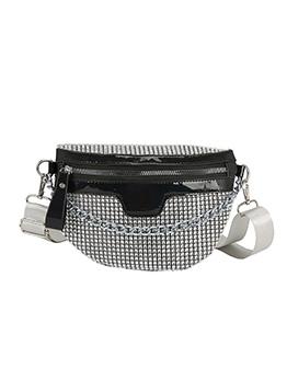 Twinkling Rhinestone Wide Strap Chain Crossbody Bags