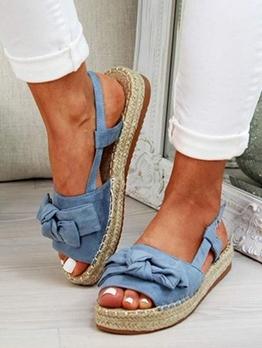 Stylish Bow Decor Platform Flat Sandals