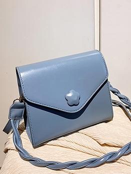 Pure Color Twist Strap Simple Design Shoulder Bags