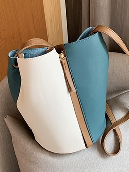 Color Patchwork Large Capacity Bucket Shoulder Bags