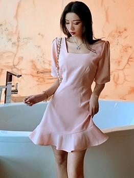 Modern Pink Square Neck Short Sleeve Dress