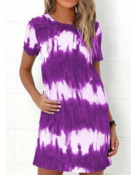 Casual Tie Dye Short Sleeve Dresses For Women