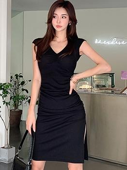 V Neck Solid Side Slit Short Sleeve Dress