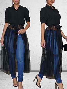 See Through Gauze Hem Black Long Blouse Design