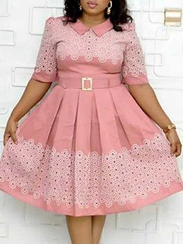 Fashion Doll Collar Short Sleeve Dress