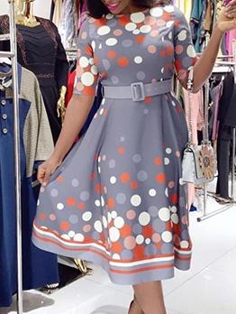 Fashion Polka Dots Half Sleeve Midi Dresses