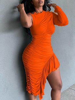Asymmetrical Hem Solid Color Draped Ladies Dress