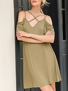 Off Shoulder Crossed Strap Solid Casual Dress