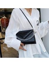 Trapezoidal Crocodile Print Clear Beaded Shoulder Bags