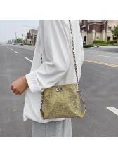 Twist Lock Shiny Rhinestones Chain Shoulder Bags