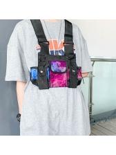 Letter Printed Plastic Buckle Hip Hop Unisex Chest Bags