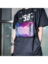 Gradient Color Letter Double Straps Unisex Chest Bags