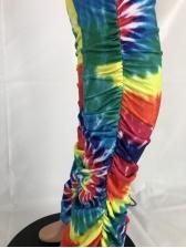 Multicolored Tie Dye Crop Top And Skinny Pants Set