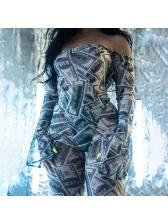 Dollar Printing Long Sleeve Off The Shoulder 2 Piece Set