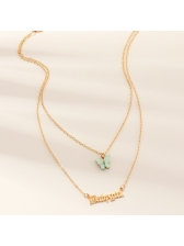 Sweet Baby Girl Letter And Butterfly Layered Necklace