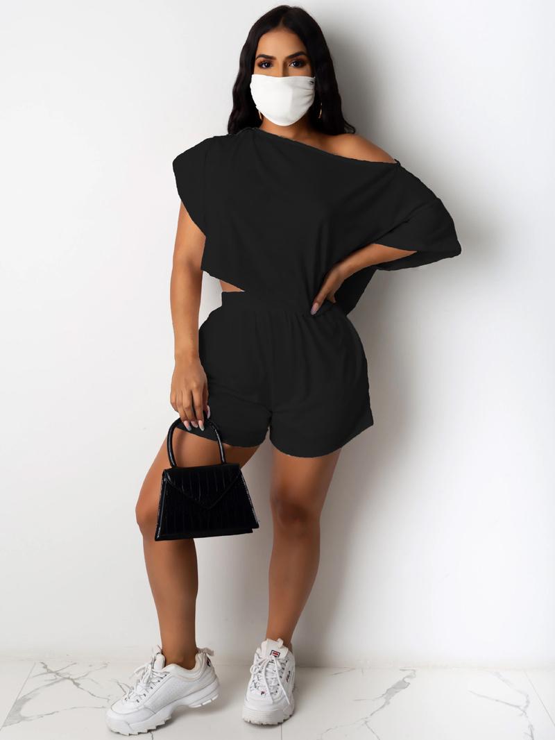 Boat Neck Short Sleeve Solid Color Tracksuit Set Without Mask