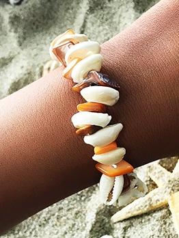 Beach Style Colorful Gravel Shell Bracelet For Women