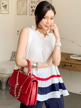Korean Contrast Color Pleated Sleeveless Blouse