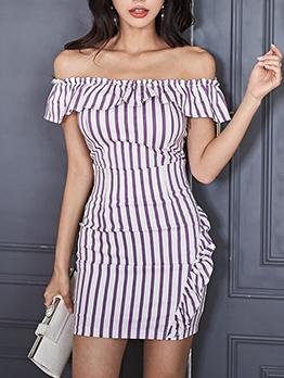 Off Shoulder Striped Two Piece Skirt Set